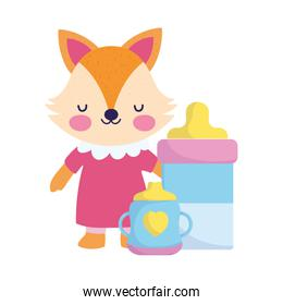 baby shower, cute fox with bottle feed and cup, announce newborn welcome card