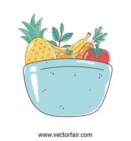 dish bowl with fruits and vegetable fresh nutrition healthy food isolated icon design