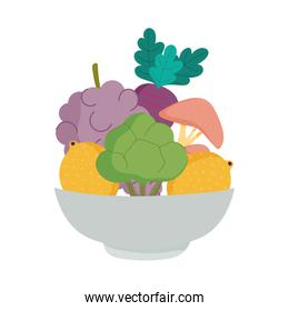 vegetables and fruits in dish bowl organic fresh nutrition healthy food isolated icon design