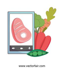 fresh market smartphone meat carrot peas organic healthy food with vegetables