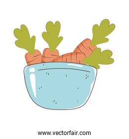 bowl with carrots, fresh market organic healthy food with fruits and vegetables