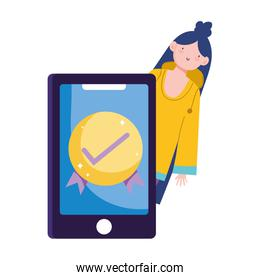 isolated woman smartphone check mark, ecommerce market shopping, mobile app