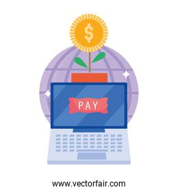 online payment, laptop world and potted plant coin, ecommerce market shopping, mobile app
