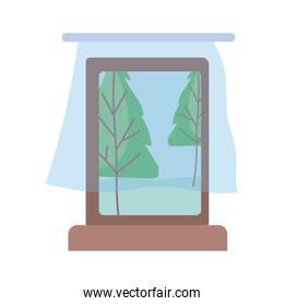 window curtains landscape view isolated icon design white background