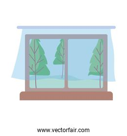 landscape view window with curtains isolated icon design white background