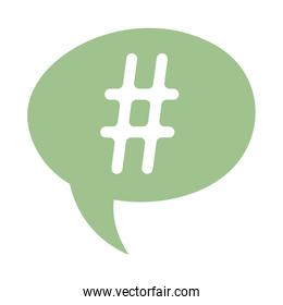 speech bubble hashtag social media isolated icon design white background