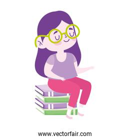 little student girl sitting on stack of books cartoon school isolated icon design white background
