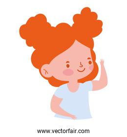 portrait little girl cartoon character isolated icon design white background