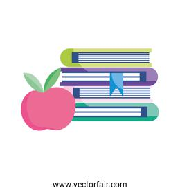 school stack of books with apple isolated icon design white background