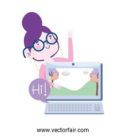 online education, teacher with laptop computer lesson class website, isolated design