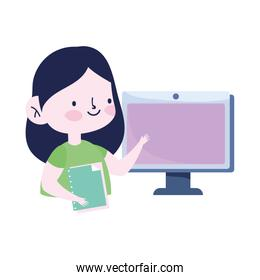 online education, student girl with computer and book studying cartoon