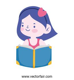 little student girl reading book cartoon character isolated icon
