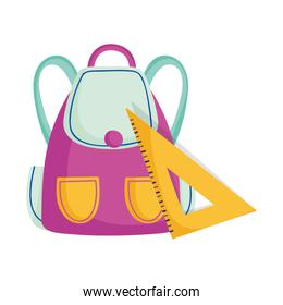 school backpack and triangle ruler supplies cartoon isolated design