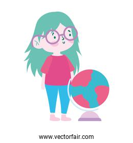 little student girl with globe map cartoon character isolated icon