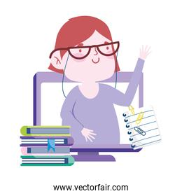online education, teacher in screen computer with books and paper cartoon