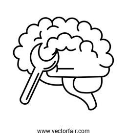 alzheimer disease, mind wrench tools, decrease in mental human ability line style icon
