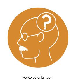 alzheimer disease, man profile question mark decrease in mental human ability color block style icon