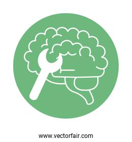 alzheimer disease, mind wrench tools, decrease in mental human ability color block style icon