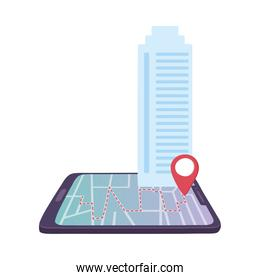 smartphone gps navigation pointer map building isolated icon design white background