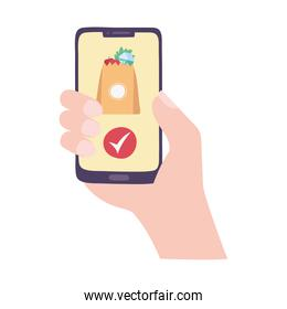 hand with smartphone online delivery isolated icon design white background