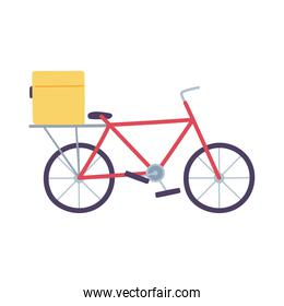 delivery bike with package service isolated icon design white background