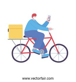 delivery man riding bike with smartphone isolated icon design white background