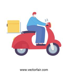 delivery man riding scooter service isolated icon design white background