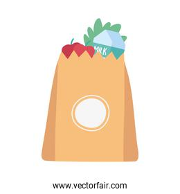 grocery bag full food products isolated icon design white background