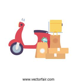 delivery service, motorcycle and cardboard boxes and bag market