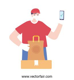 covid-19 coronavirus pandemic, delivery service, delivery man using smartphone with packages, wear protective medical mask