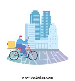 covid-19 coronavirus pandemic, delivery service, delivery man with mobile riding bike on tracking map, wear protective medical mask