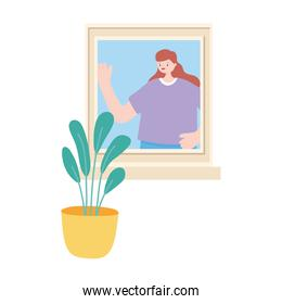 woman in window with potted plant isolated design