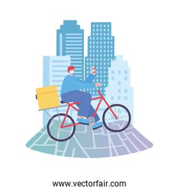 covid-19 coronavirus pandemic, delivery service, man in bike with mobile in map location, wear protective medical mask