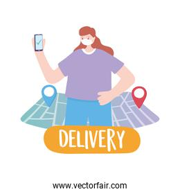 covid-19 coronavirus pandemic, delivery service, customer woman with smartphone online order, wear protective medical mask