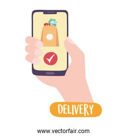 covid-19 coronavirus pandemic, delivery service, smartphone online order grocery