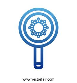 magnifying glass with viruses, bacteria under a magnifying glass , degraded line style icon