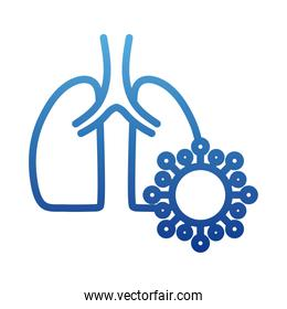 human lungs with virus, virus cells in lung, infected lungs, internal organs of the human, degraded line style icon