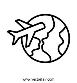 planet earth and airplane , tourism or travel, airplane flights, line style icon