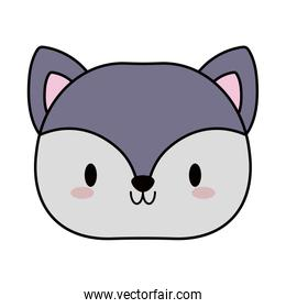 head of fox baby kawaii, line and fill style icon