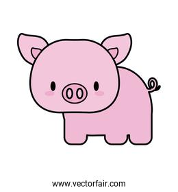 cute pig baby kawaii, line and fill style icon