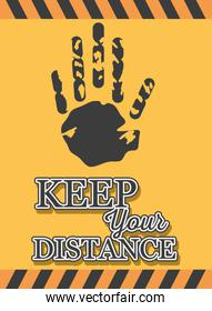 symbol of caution, keep your distance, banner