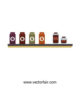 Isolated coffee bags and jars vector design