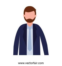 Businessman avatar with beard and necktie vector design