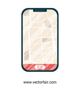 smartphone with delivery map and buy button vector design