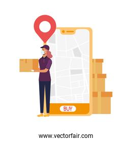 smartphone with delivery map and woman with mask vector design