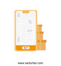 smartphone with delivery map and boxes vector design