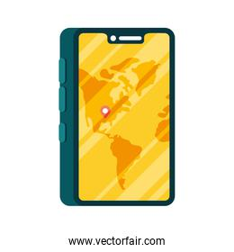 smartphone with delivery map with gps mark vector design