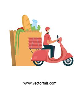 Delivery man with mask motorcycle bag and boxes vector design