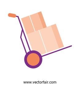 Delivery boxes on cart vector design