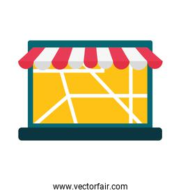 laptop with delivery map and tent vector design